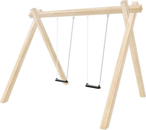 Double wooden swing set