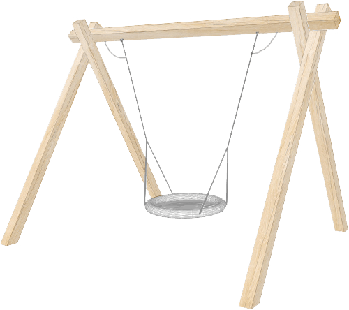 Wooden group swing with cradle swing