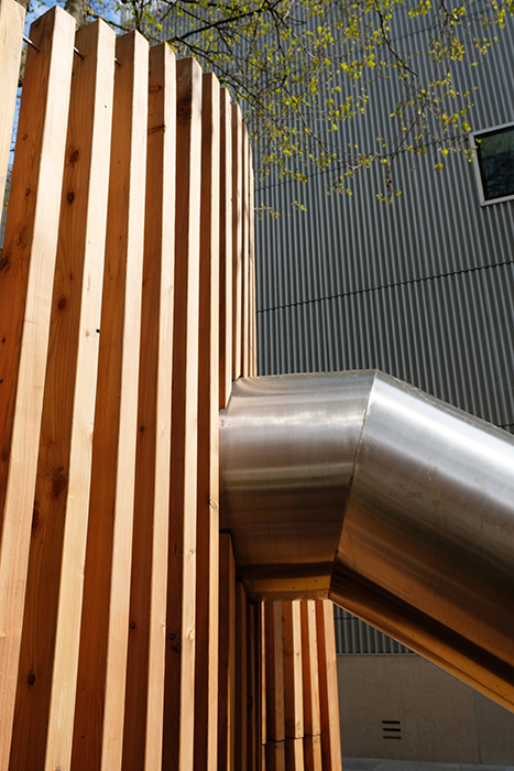Stainless steel and larch components