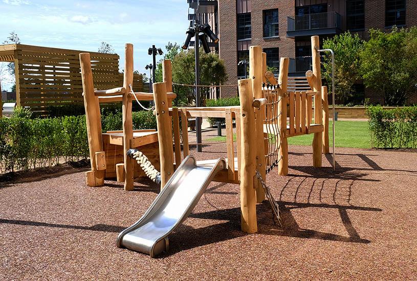 wooden climbing frame equipment