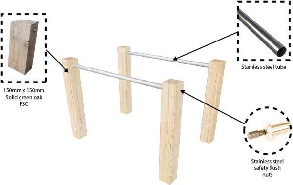 outdoor dip bars components