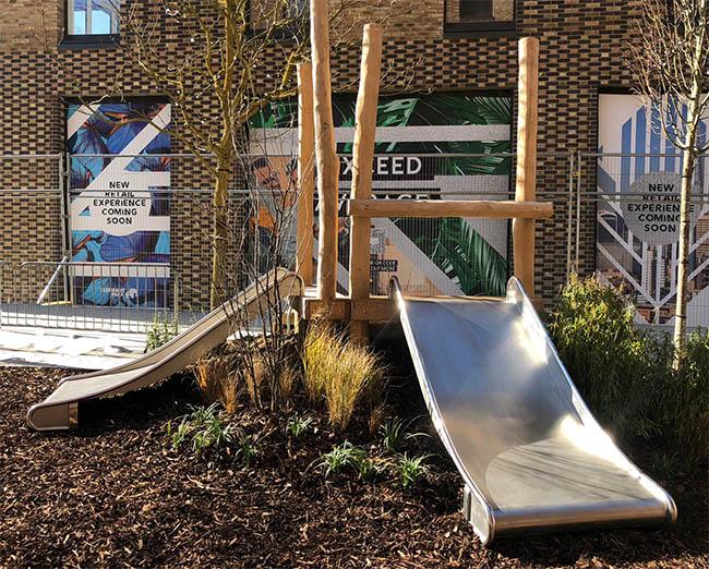 wide metal playground slide