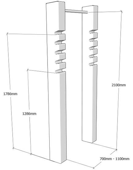 squat and pull up bar dims