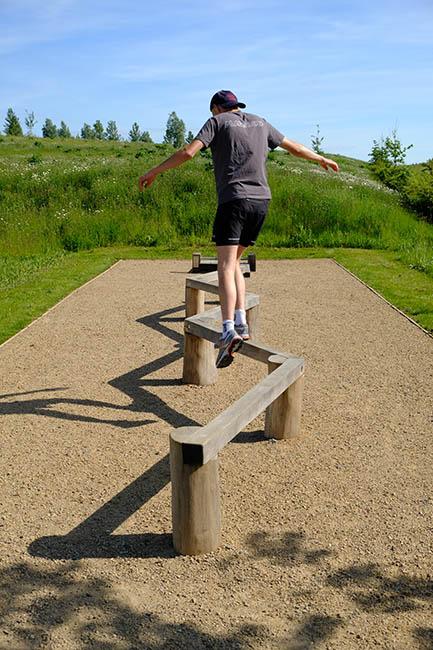 In use balance beam trail