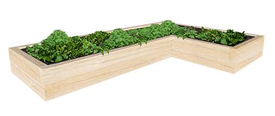 L shaped oak raised planter