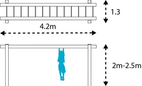 wooden monkey bars layout