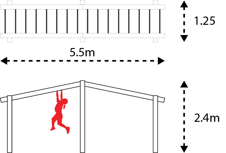 Monkey bar set layout