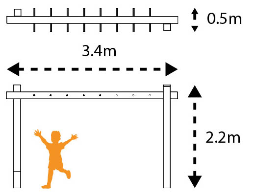 monkey bar single beam dims