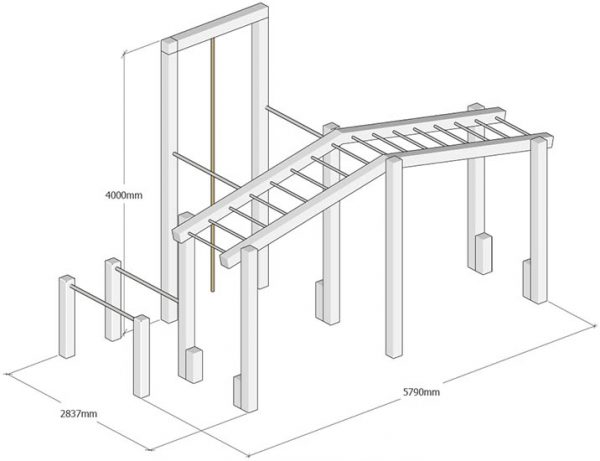 outdoor wooden gym dims