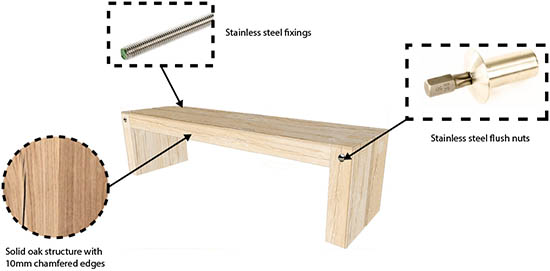 wooden playground bench spec