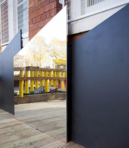 Playground blackboard and mirrors
