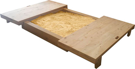 sandpit with lid open