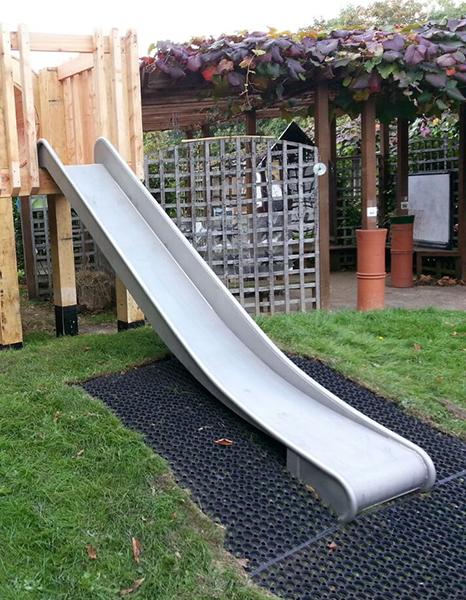 Metal playground slide side angle 2