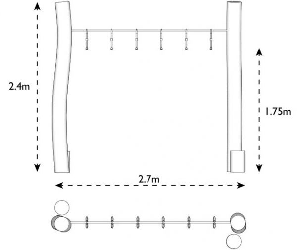Trapeze ropes dims