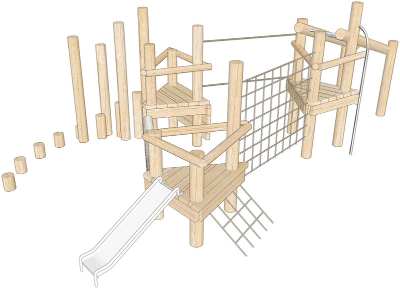 robinia climbing frame triple