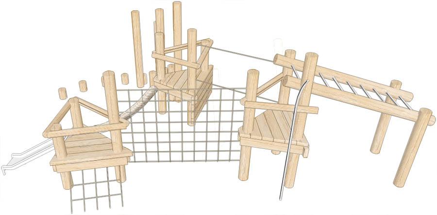 robinia climbing frame triple platform