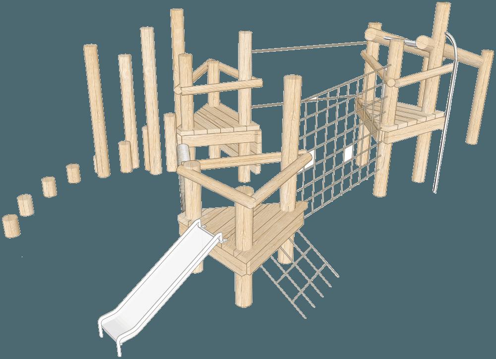Triple platform robinia climbing frame