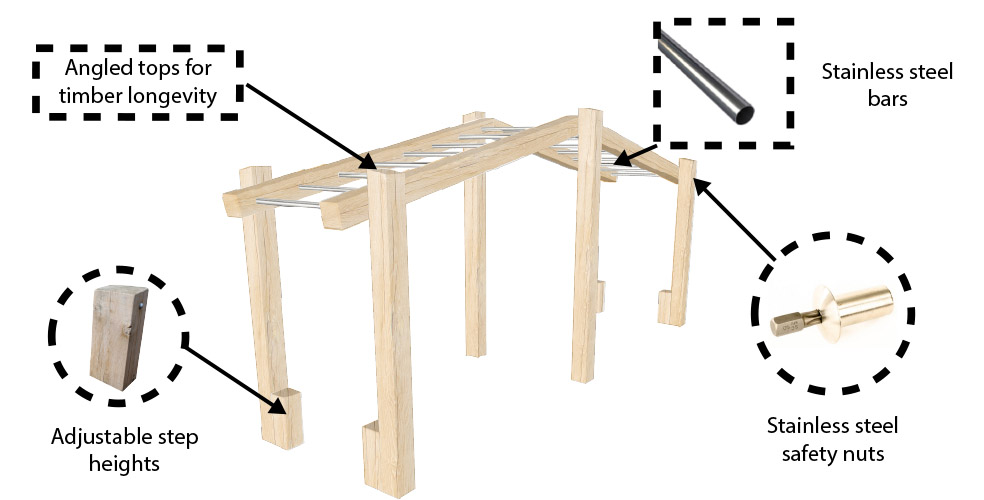 Wooden Monkey Bar set for schools