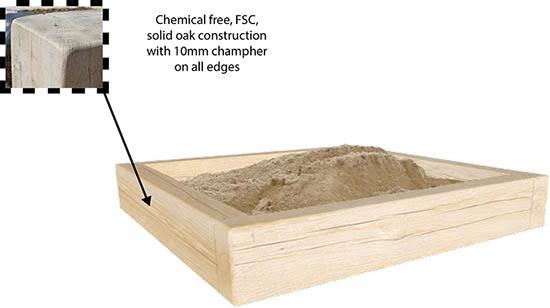 wooden oak sandpit
