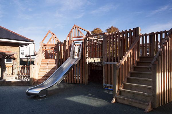 Wooden playground equipment for schools