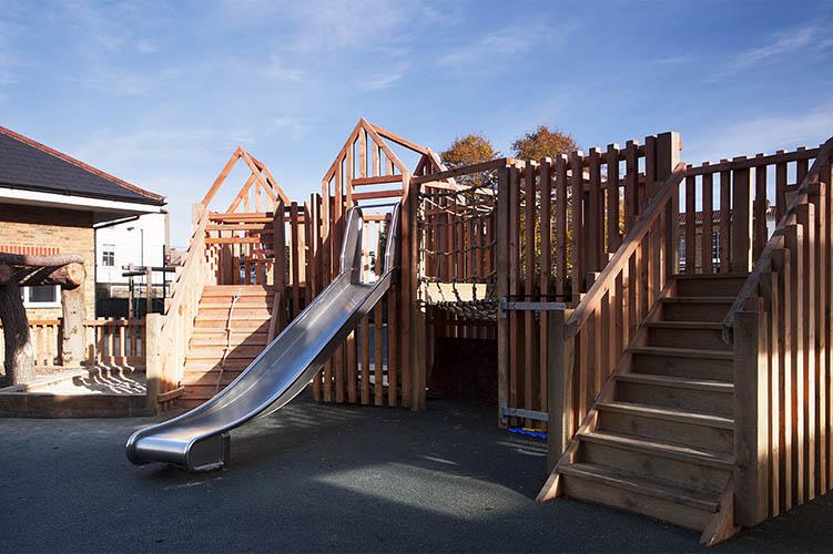 Wooden playground equipment for schools
