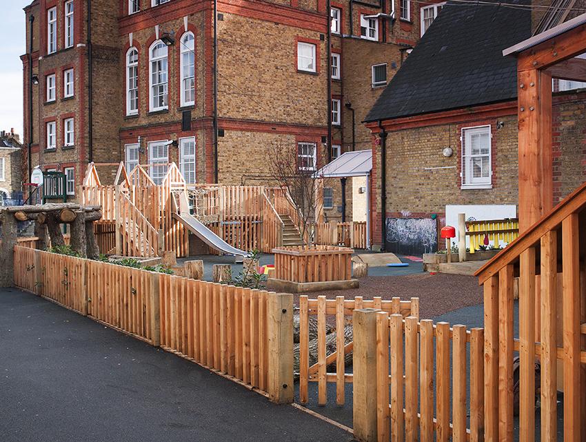 Wooden playground for nurseries