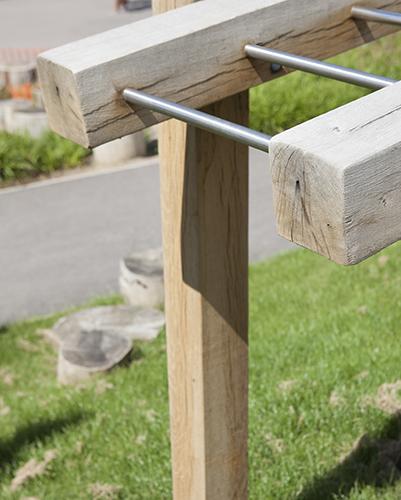 Playground wooden monkey bars