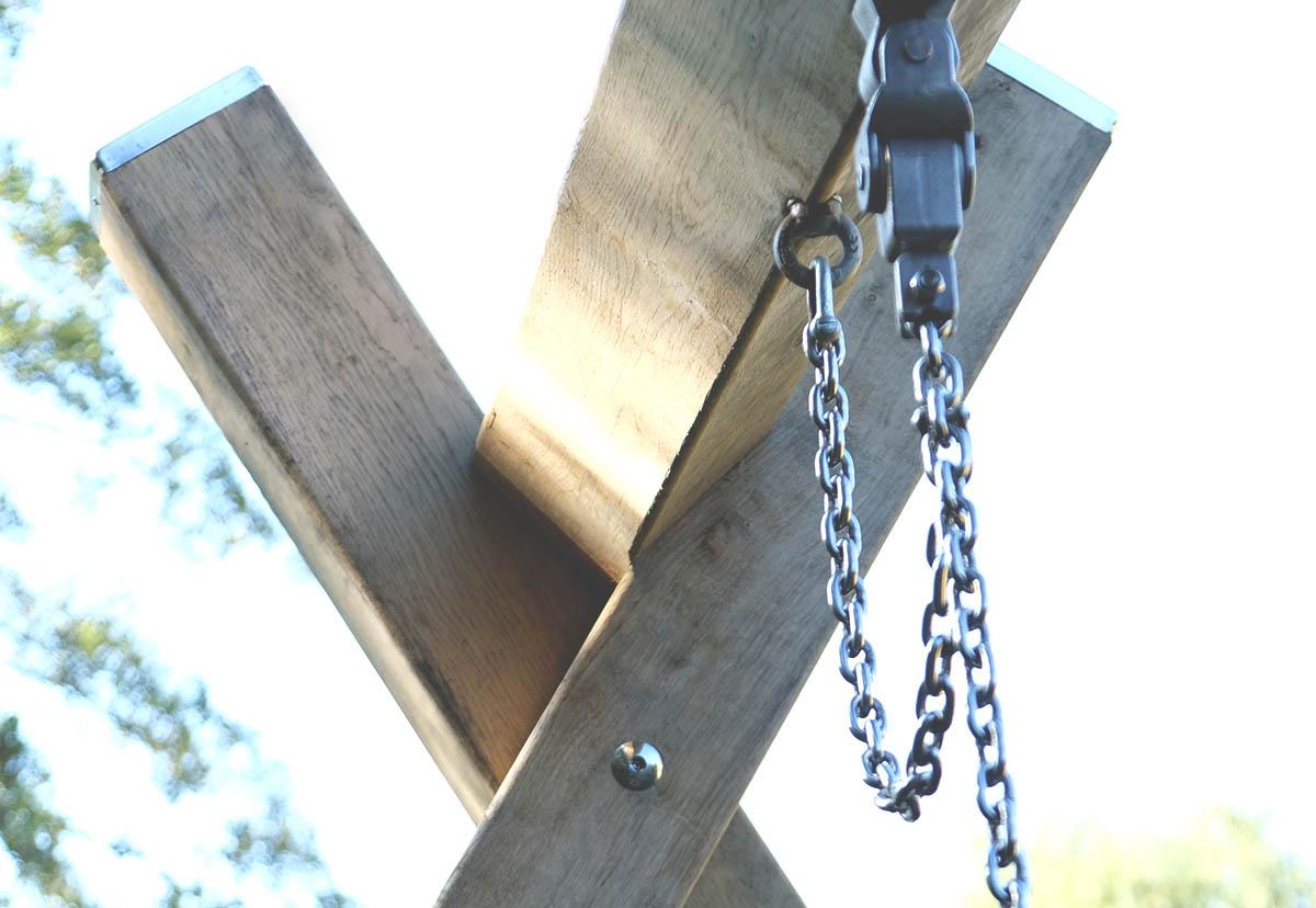 wooden playground swing