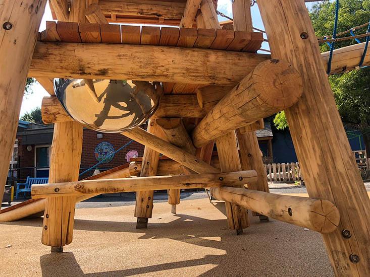 timber and metal playground equipment