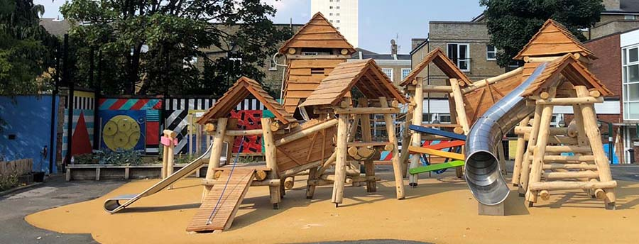 Natural wooden playground