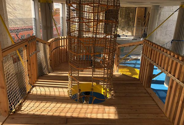 larch deck and balustrades